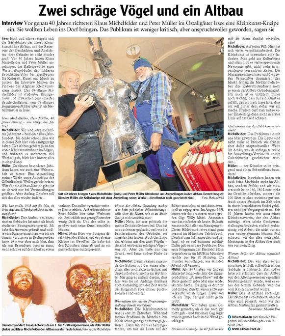 Kleinkunstverein Altbau e.V. - Interview Michelfelder-Müller