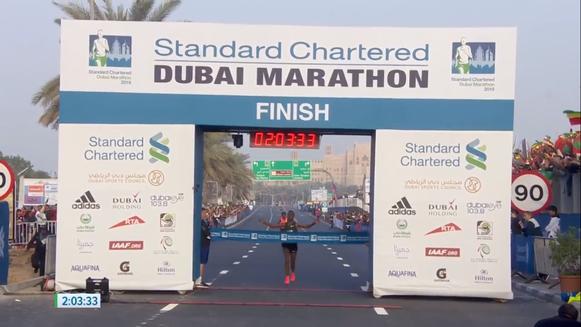 Molla Tamire, Getaneh (ETH) ganando el maratón de Dubai, fuente: dubaimarathon.org