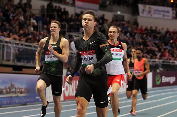 Pavel Maslak ganando los 400m en el IAAF World Indoor Tour meeting en Torun (Jean-Pierre Durand) © Copyright