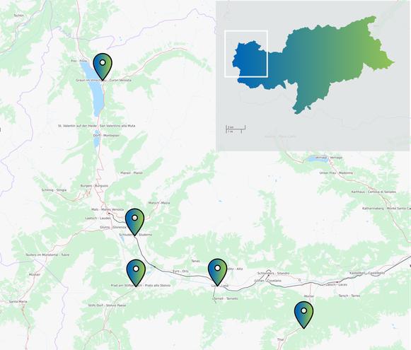 Il Consorzio Energetico val Venosta (VEK) ha installato delle colonnine a Curon, Sluderno, Prato allo Stelvio, Lasa e Martello.
