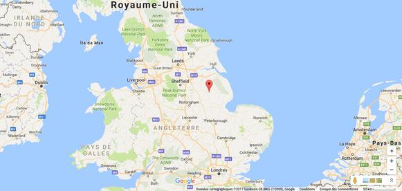 Localisation de la ville de Washingborough en Angleterre. Crédit : Google Maps