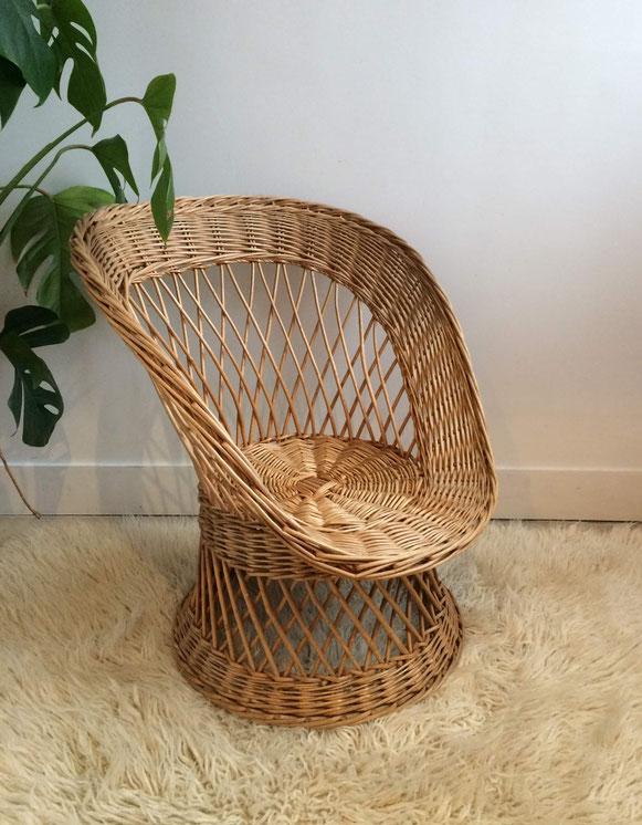 fauteuil osier enfant, fauteuil corbeille, fauteuil rotin vintage