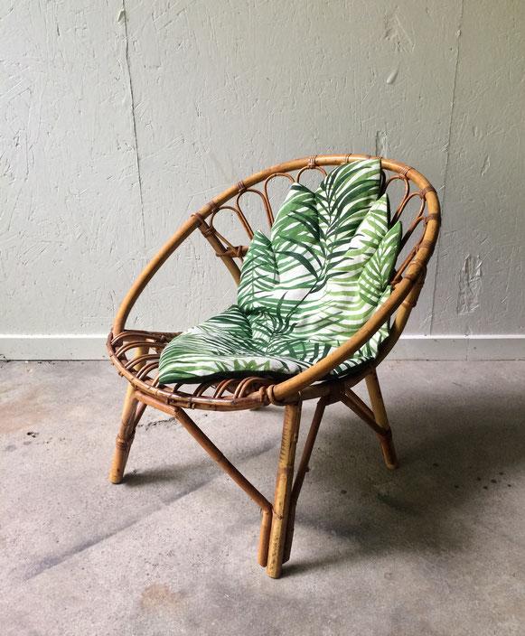 fauteuil rotin coquille, fauteuil vintage, fauteuil bambou, fauteuil enfant vintage