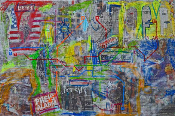 (c) Divo Santino, Berlin 2015, Collage 1,50 m x 1,00 m auf Leinwand und Holzrahmen