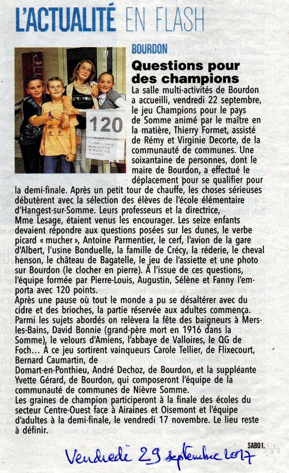 Soirée de Bourdon (CC Nièvre et Somme) - Article du Courrier Picard - Septembre 2017