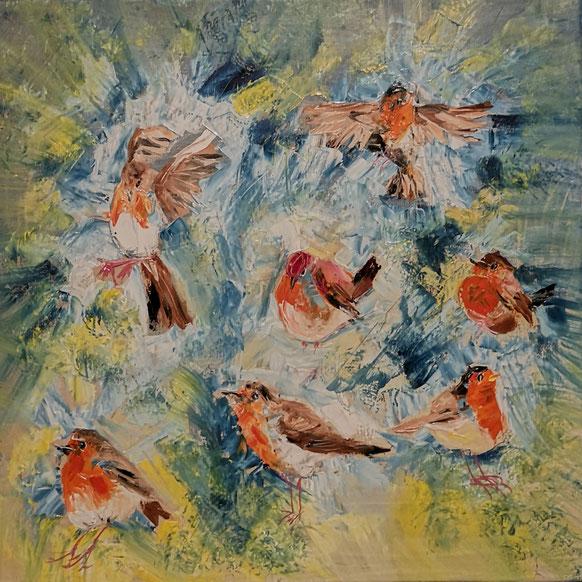 50. A lot of robins met palletmes 50x50 cxm