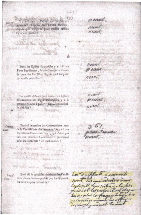 extrait enquete paroissiale 1783