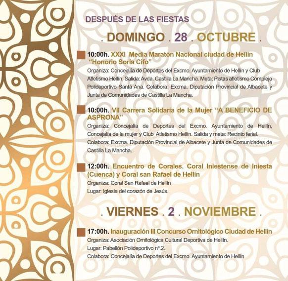Programa de las Fiestas de San Rafael en Hellin