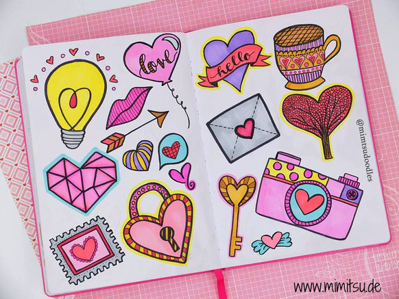 Doodles, Valentine's Day, Doodling, Love Doodles, Sketchbook, Sketchnotes, visual vocabulary, visuelles wörterbuch, scribble, Sketch, Doodle Inspiration, Doodle Idea, Ideen, How to draw, cute drawings, malen einfach, kids, kinder, Liebe