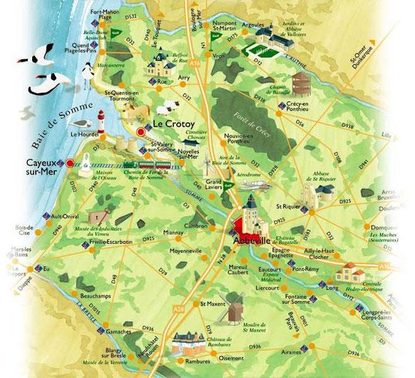 Carte touristique de la Picardie maritime.