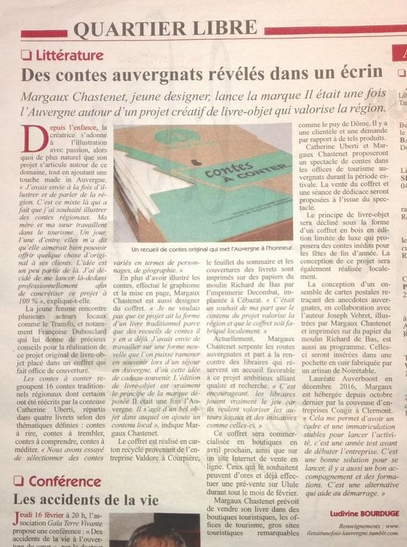 article du Semeur Hebdo sur le coffret des contes Il était une fois l'Auvergne ®