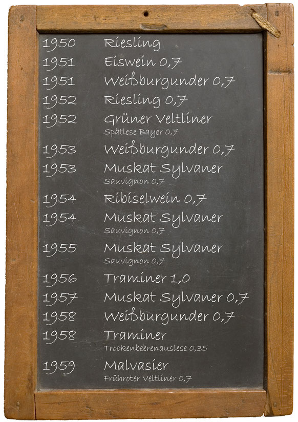 Jahrgangswein 1950 1951 1952 1953 1954 1955 1956 1957 1958 1959 Jahrgangswein 1950 1951 1952 1953 1954 1955 1956 1957 1958 1959 Weingut Franz Bayer Königsbrunn am Wagram