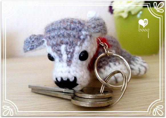 husky amigurumi key schlüsselanhänger kulcstartó