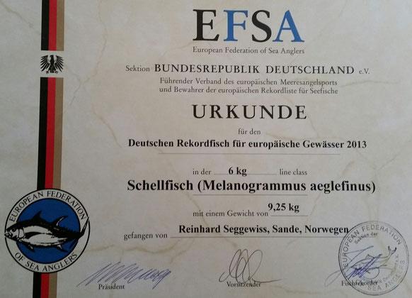Schellfisch 9250gr. gefangen im Dalsfjord/Bygstad. Offizieller EFSA-Rekord schon seit 2013 und weltweit immer noch der grösste nachgewiesene Schellfisch