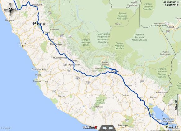 gefahrene Route im Süden von Peru