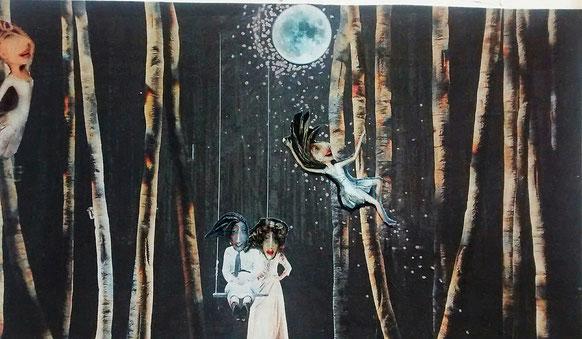 """Collage """"Was im Wald geschieht, wenn die Tiere schlafen"""", geklebt, gezeichnet (Nordseezeitung, Pizzakarton)"""