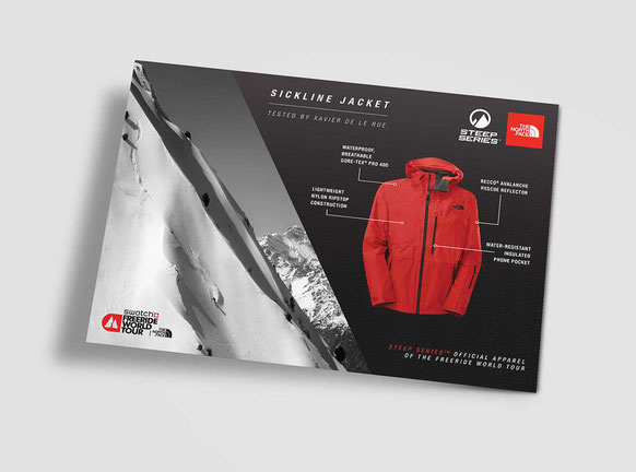 Steep Series: Freeride World Tour promotion for point of sale.