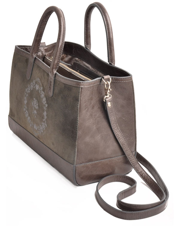 Ledertasche LORELEI  grau Leder handgefertigt OSTWALD Traditional Craft