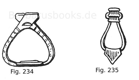 Fig. 234. Steigbügel aus Holz und roh bemalt, zu dem tartarischen Sattel Fig. 228 gehörig. Fig. 235. Altungarischer Steigbügel aus verzinntem Eisen.