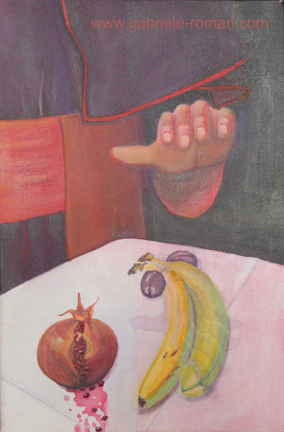 Still-Leben mit Obst:Auf einem Tisch liegen ein Granatapfel, dessen roter Saft sich über das weiße, gebügelte Tuch ergießt, zwei Bananen mit Pflaumen rechts und links. Aus dem Dunkel greift die Hand