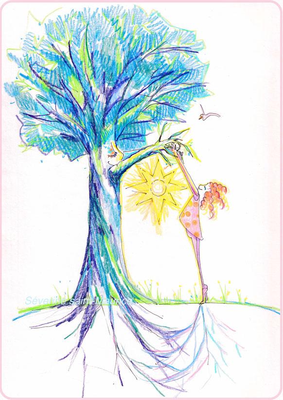 severine saint-maurice, les cercles de lumiere, illustration bien-être, dessin bien -être, dessin spiritualité, vente achat dessin peinture, oeuvre originale, illustration enfant, papier canson, arbre, enfant, dessin fillette