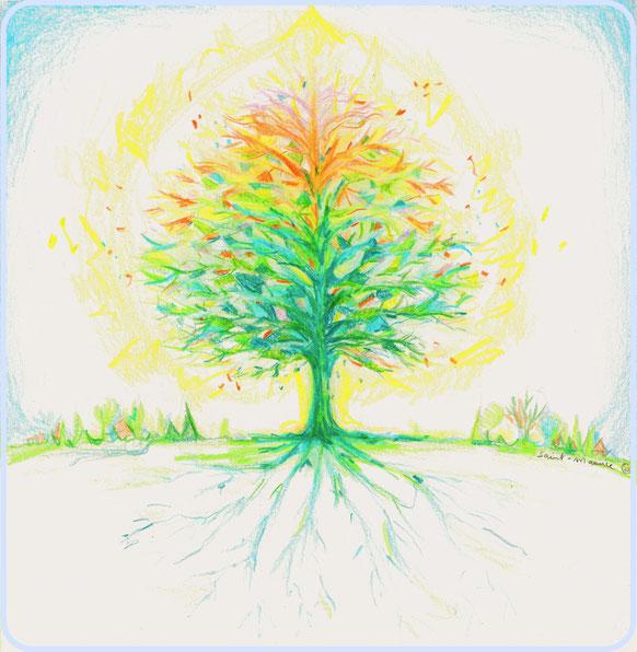 severine saint-maurice, les cercles de lumiere, illustration bien-être, dessin bien -être, dessin spiritualité, vente achat dessin peinture, oeuvre originale, illustration enfant, papier canson, arbre, arbre de vie