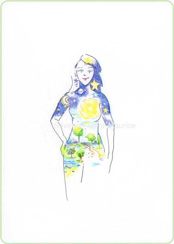 mon univers interieur, severine saint-maurice, les cercles de lumiere, illustration bien-être, dessin crayon de couleur, vente achat dessin, oeuvre originale