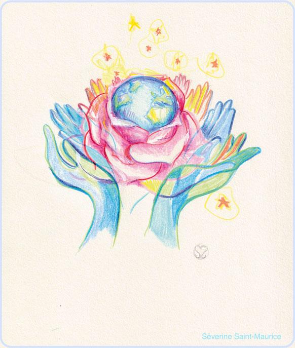 la beauté du monde, dessin illustration, terre, rose, illustration bien-être,  severine saint-maurice, les cercle de lumiere, lescerclesdelumiere.com