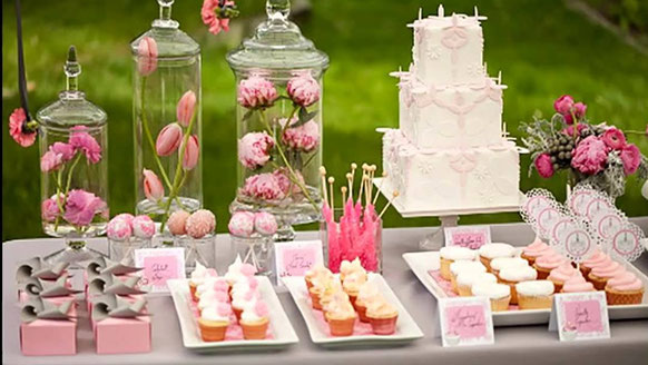 Candy table, Sweet table, zoetigheid tafel, hapjes babyshower meisje,