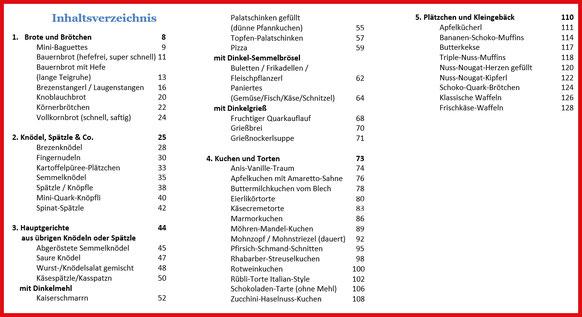 Inhaltsverzeichnis eBook/Buch: Back-/Kochbuch Dinkel-Dreams von K.D. Michaelis