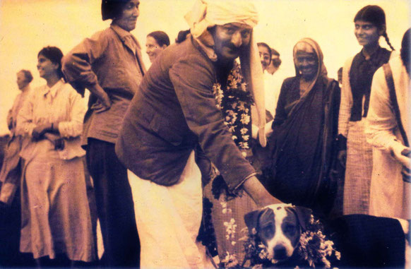 India - late 1930s : Helen standing behind Meher Baba and his dog - Chum
