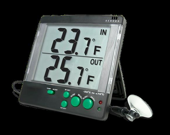 Termómetro digital con sonda plástica para interior / exterior con certificado trazable a NIST 4142