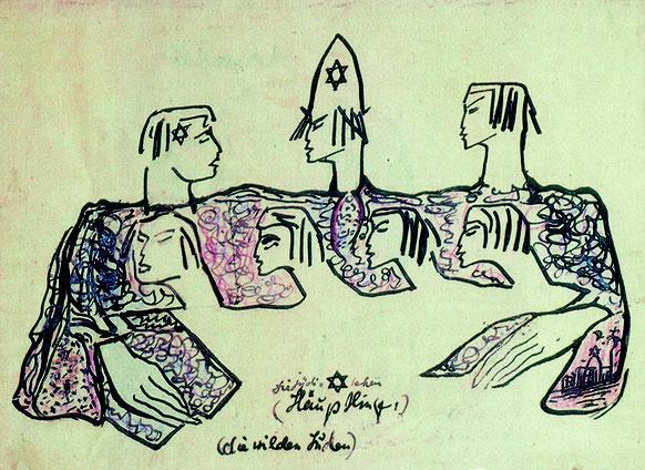 Zeichnung von Else Lasker-Schüler: Die jüdischen Häuptlinge