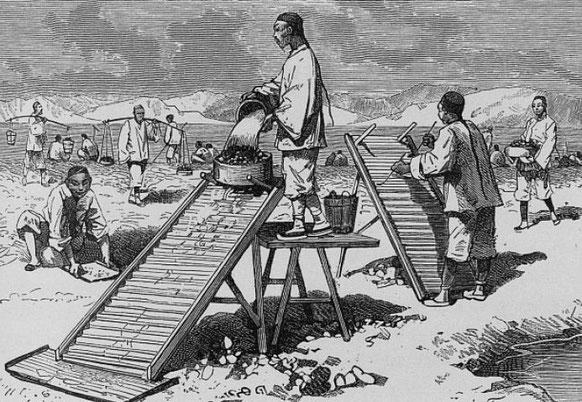 Lavage du sable aurifère déposé par le Han-Kiang