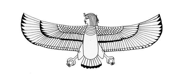 Egyptian Ba bird illustration, symbol of the Soul