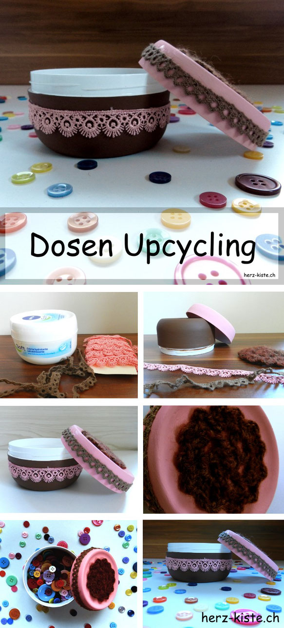 Dosen Upcycling mit Acrylfarbe und Spitzenbändern