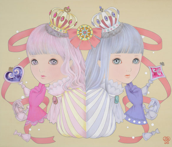 Twin Girls -Hearts and Diamonds- (from playing cards)           絹・岩絵具・水干絵具 F10