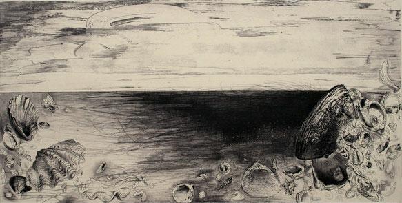 潮線 銅版画 31×60cm