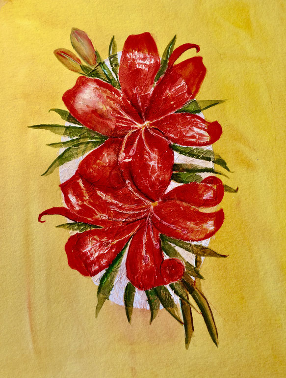 Lilien auf präparierten ovalen Grund