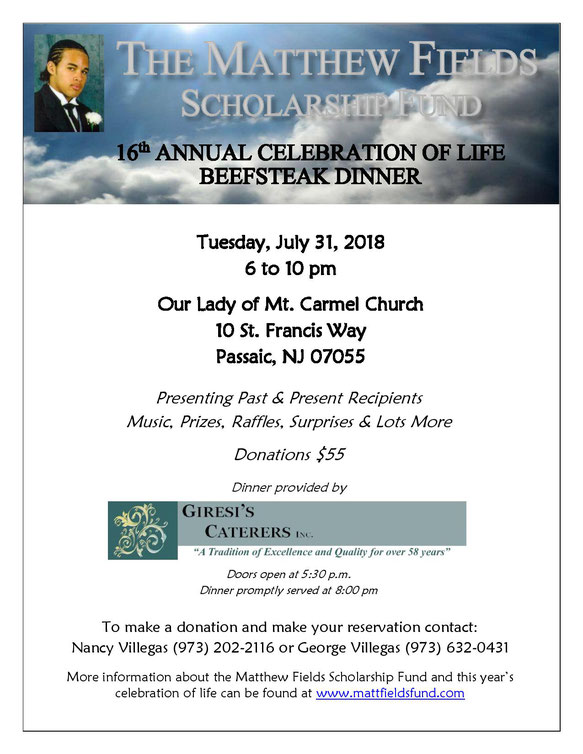 2013 Matthew Fields Scholarship Fund Dinner Information
