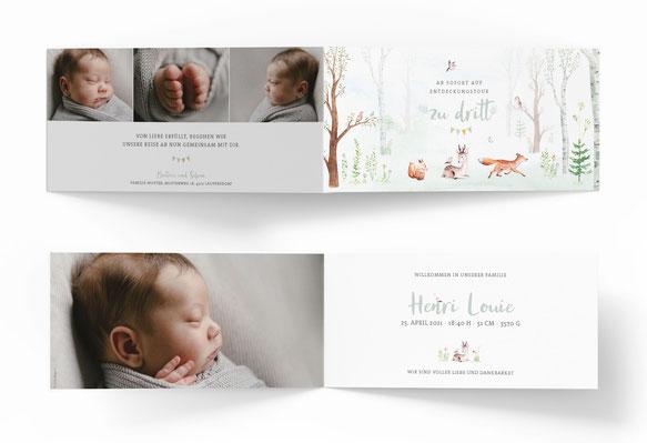 Geburtskarte 4-seitig 4 Seiten Geburtsanzeige