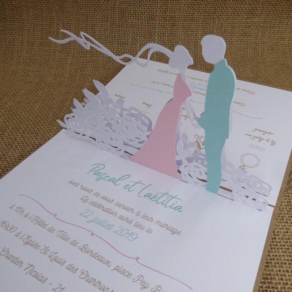 Faire-part mariage en 3D sur mesure personnalisable