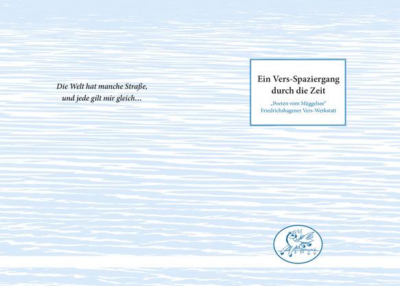 Buchtitel/Umschlaggestaltung für ein Buch der Friedrichshagener Verswerkstatt, das Wasser assoziiert, Leichtigkeit, Fluss und somit dem Inhalt gerecht wird.