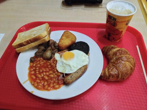 Das erste englische Frühstück. Sieht nicht besonders gut aus, war aber lecker