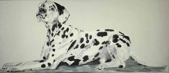 Hundeporträt, Acryl auf Leinwand, 30x70cm, Fotovorlage: © DragoNika, Fotalia