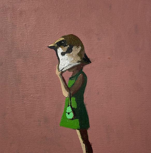 birdy - Acryl auf Leinwand, 20x20cm, 2021