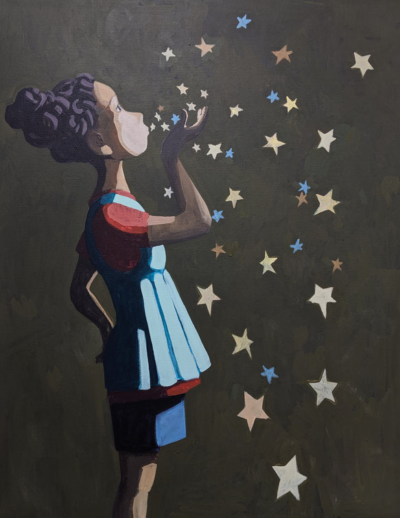 girl with stars - Acryl auf Leinwand, 100x80cm, 2019