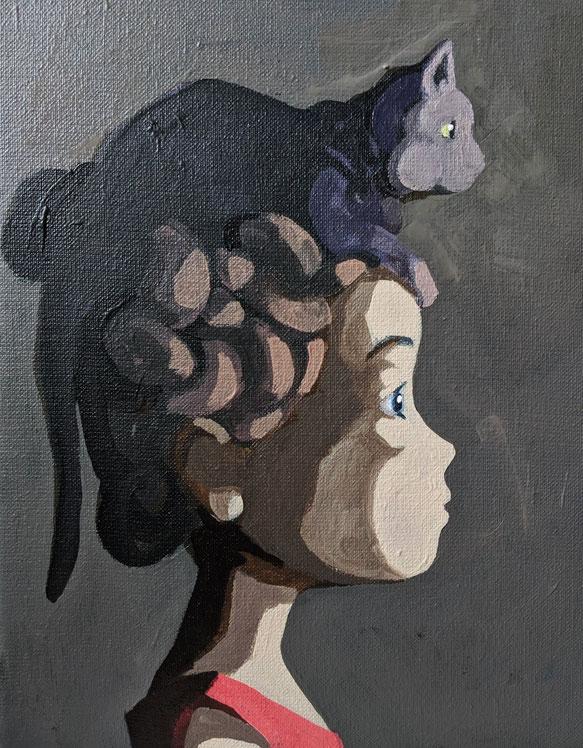 cat - Acryl auf Leinwand, 30x24cm, 2019
