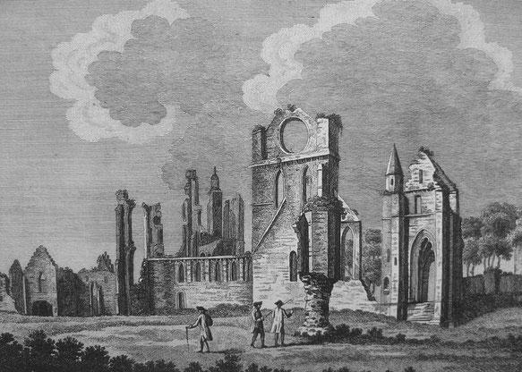 Représentation des ruines de l'abbaye d'Arbroath (1772)