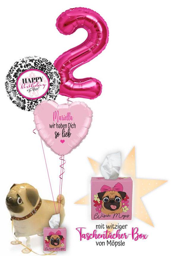 Ballon Luftballon Heliumballon Deko Überraschung Mitbringsel Ballonpost Ballongruß Versand verschicken Geschenk Idee personalisiert Mops Wisch Taschentücher Box Happy Birthday to you Geburtstag Kindergeburtstag 1 2 3 4 5 6 7 8 9 Zahl Name lieb Versand